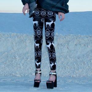 Leggings with Norwegian Reindeer Print